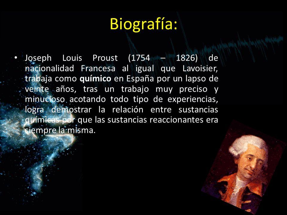 Biografía: Joseph Louis Proust (1754 – 1826) de nacionalidad Francesa al igual que Lavoisier, trabaja como químico en España por un lapso de veinte añ