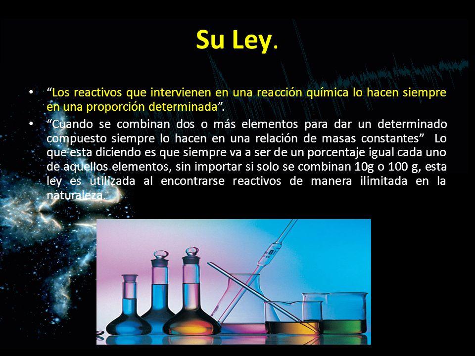 Su Ley. Los reactivos que intervienen en una reacción química lo hacen siempre en una proporción determinada. Cuando se combinan dos o más elementos p