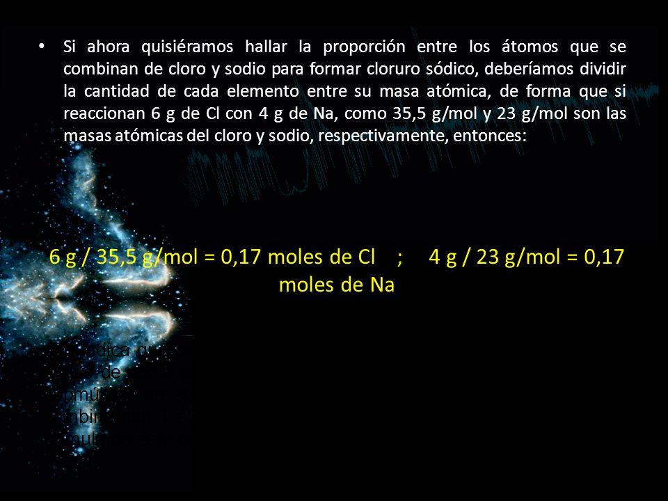 6 g / 35,5 g/mol = 0,17 moles de Cl ; 4 g / 23 g/mol = 0,17 moles de Na Si ahora quisiéramos hallar la proporción entre los átomos que se combinan de