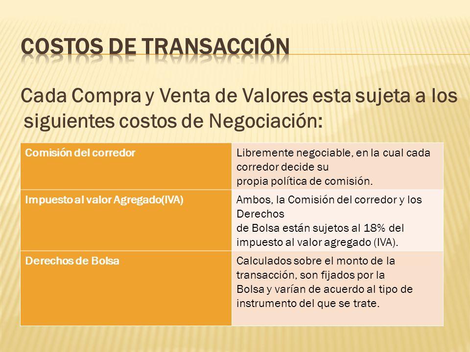 Cada Compra y Venta de Valores esta sujeta a los siguientes costos de Negociación: Comisión del corredorLibremente negociable, en la cual cada corredo
