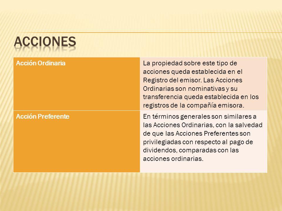 Acción OrdinariaLa propiedad sobre este tipo de acciones queda establecida en el Registro del emisor. Las Acciones Ordinarias son nominativas y su tra