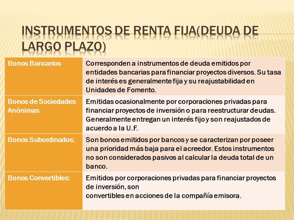 Bonos BancariosCorresponden a instrumentos de deuda emitidos por entidades bancarias para financiar proyectos diversos. Su tasa de interés es generalm