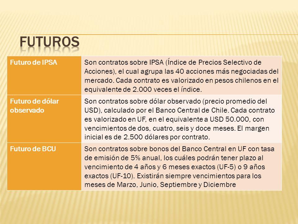 Futuro de IPSASon contratos sobre IPSA (Índice de Precios Selectivo de Acciones), el cual agrupa las 40 acciones más negociadas del mercado. Cada cont
