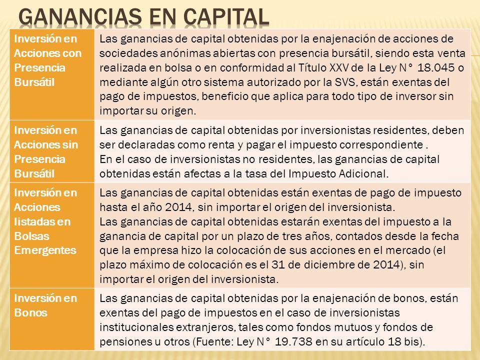Inversión en Acciones con Presencia Bursátil Las ganancias de capital obtenidas por la enajenación de acciones de sociedades anónimas abiertas con pre