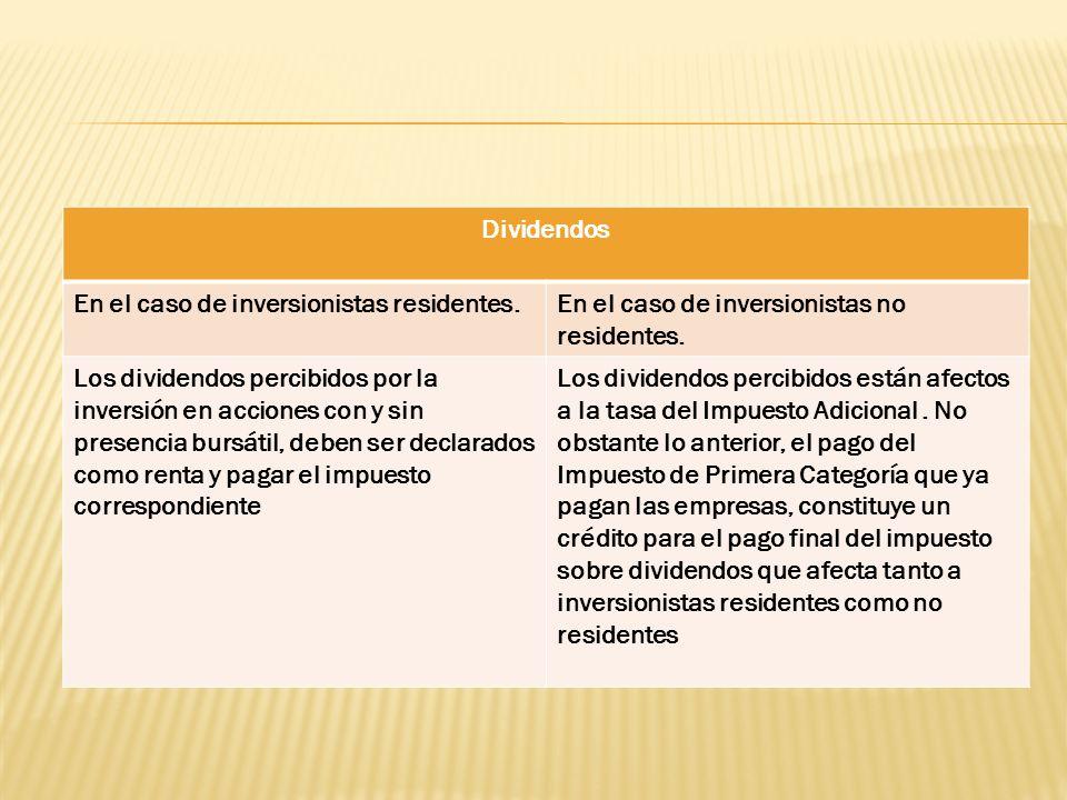 Dividendos En el caso de inversionistas residentes.En el caso de inversionistas no residentes. Los dividendos percibidos por la inversión en acciones