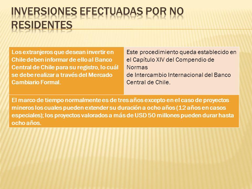 Los extranjeros que desean invertir en Chile deben informar de ello al Banco Central de Chile para su registro, lo cuál se debe realizar a través del