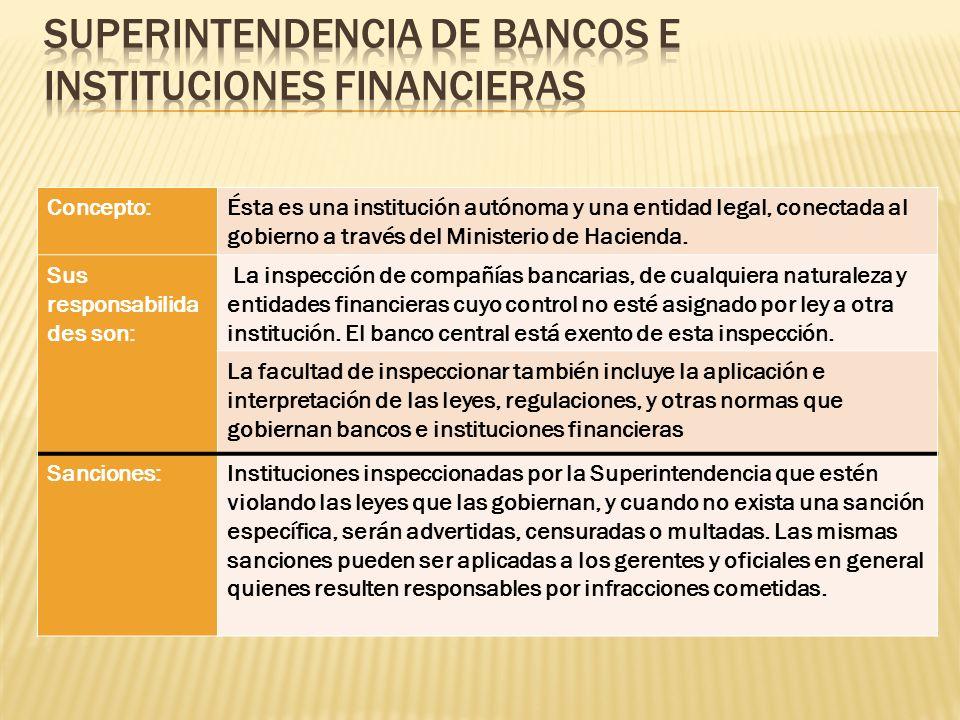 Concepto:Ésta es una institución autónoma y una entidad legal, conectada al gobierno a través del Ministerio de Hacienda. Sus responsabilida des son: