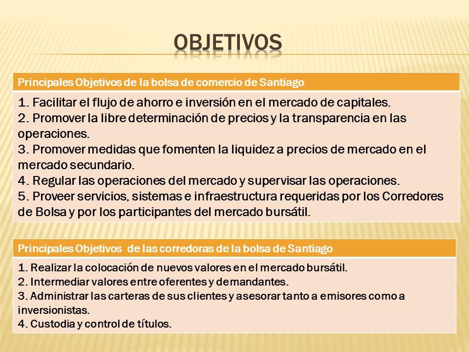 Principales Objetivos de la bolsa de comercio de Santiago 1. Facilitar el flujo de ahorro e inversión en el mercado de capitales. 2. Promover la libre