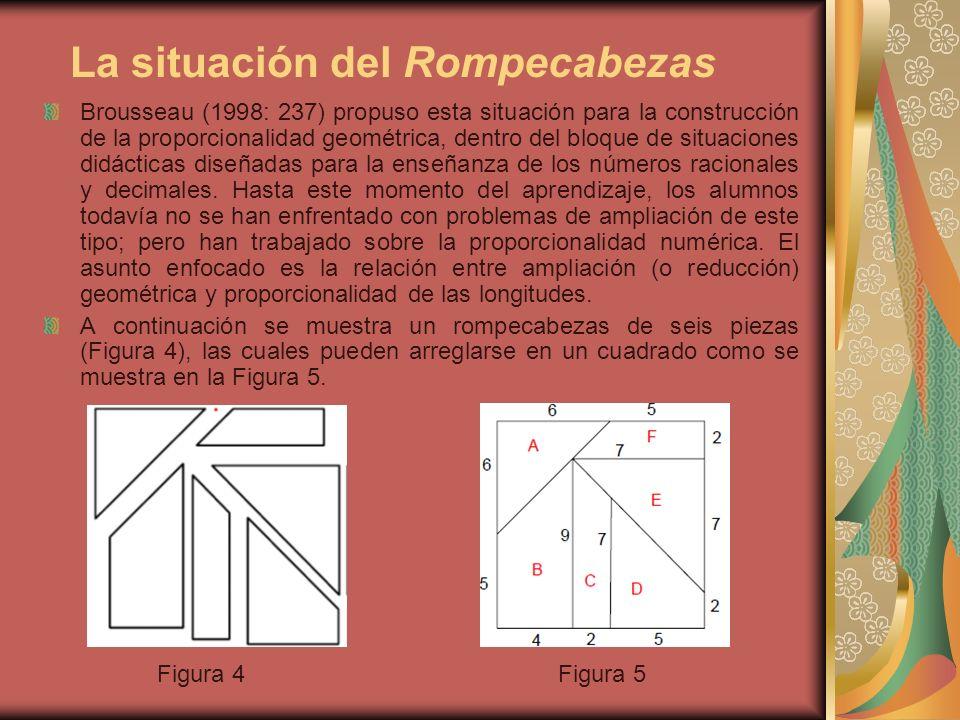 La situación del Rompecabezas Brousseau (1998: 237) propuso esta situación para la construcción de la proporcionalidad geométrica, dentro del bloque d