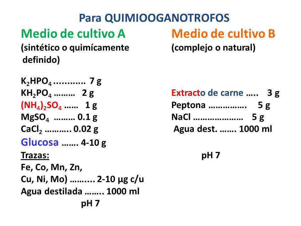 Para QUIMIOOGANOTROFOS Medio de cultivo AMedio de cultivo B (sintético o quimícamente(complejo o natural) definido) K 2 HPO 4............ 7 g KH 2 PO