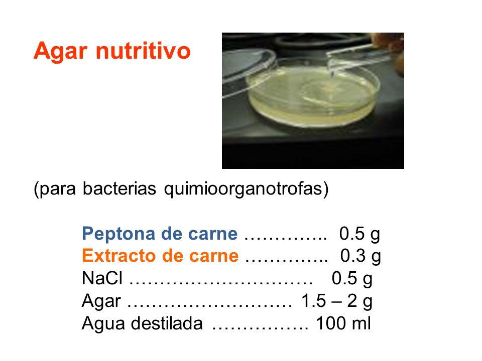 Agar nutritivo (para bacterias quimioorganotrofas) Peptona de carne ………….. 0.5 g Extracto de carne ………….. 0.3 g NaCl ………………………… 0.5 g Agar ……………………… 1