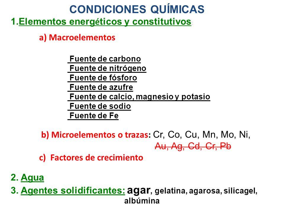 CONDICIONES QUÍMICAS 1.Elementos energ é ticos y constitutivos : a) Macroelementos Fuente de carbono Fuente de nitrógeno Fuente de fósforo Fuente de a