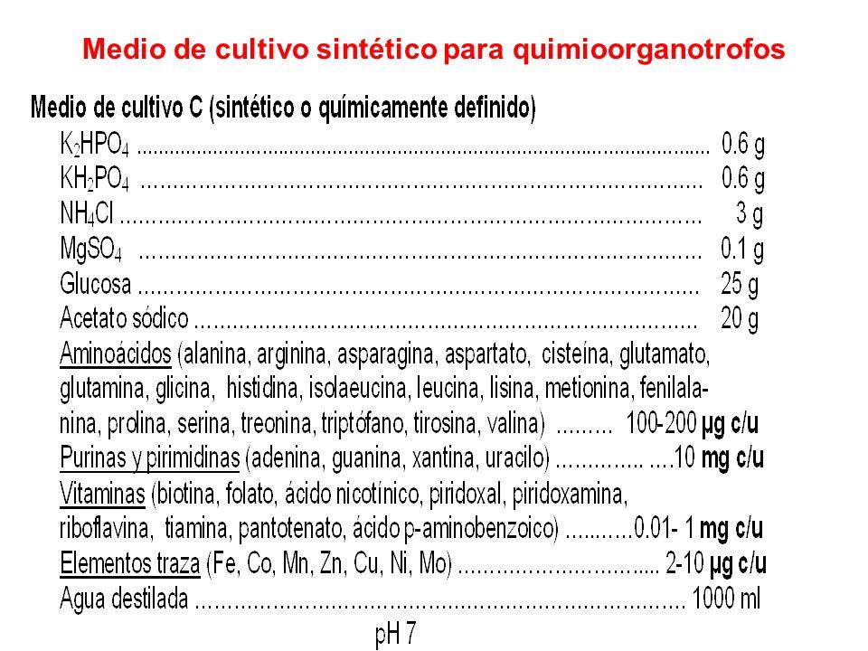 Medio de cultivo sintético para quimioorganotrofos