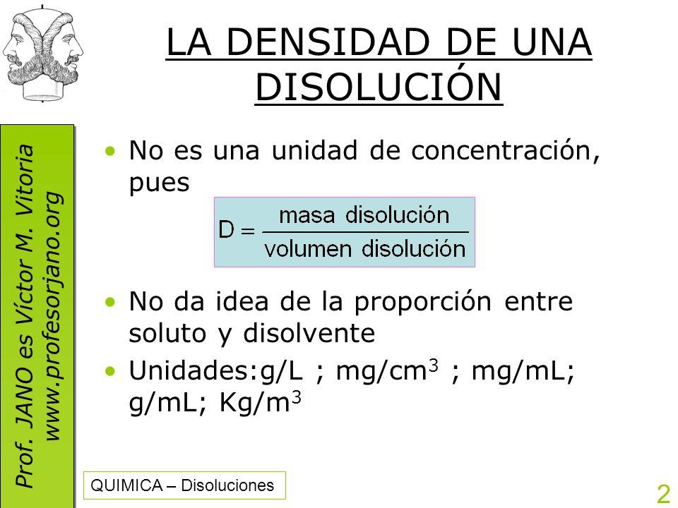 Prof. JANO es Víctor M. Vitoria www.profesorjano.org Prof. JANO es Víctor M. Vitoria www.profesorjano.org QUIMICA – Disoluciones 2 LA DENSIDAD DE UNA