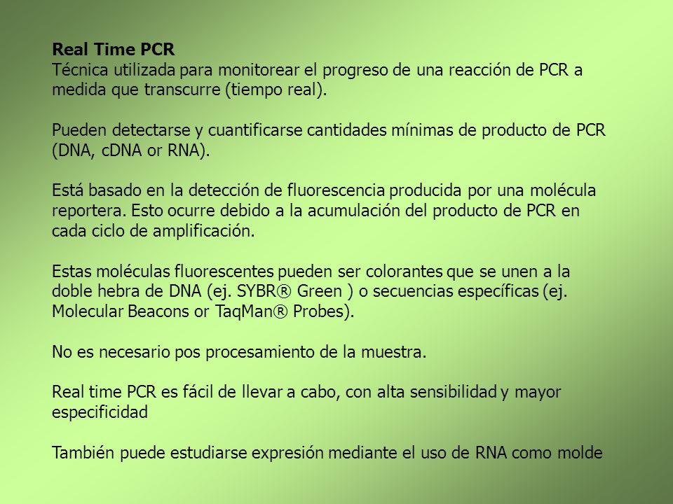 Real Time PCR Técnica utilizada para monitorear el progreso de una reacción de PCR a medida que transcurre (tiempo real). Pueden detectarse y cuantifi