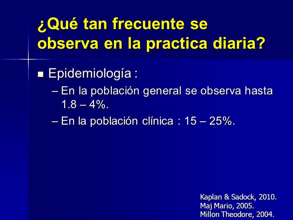 ¿Qué tan frecuente se observa en la practica diaria? Epidemiología : Epidemiología : –En la población general se observa hasta 1.8 – 4%. –En la poblac