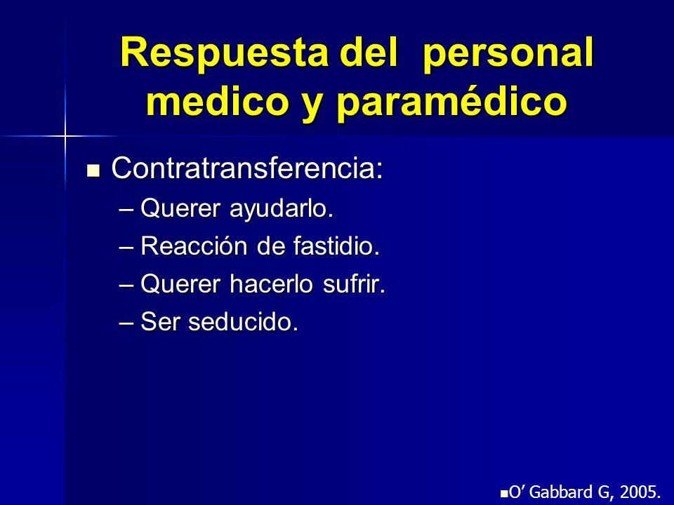 Respuesta del personal medico y paramédico Contratransferencia: Contratransferencia: –Querer ayudarlo. –Reacción de fastidio. –Querer hacerlo sufrir.