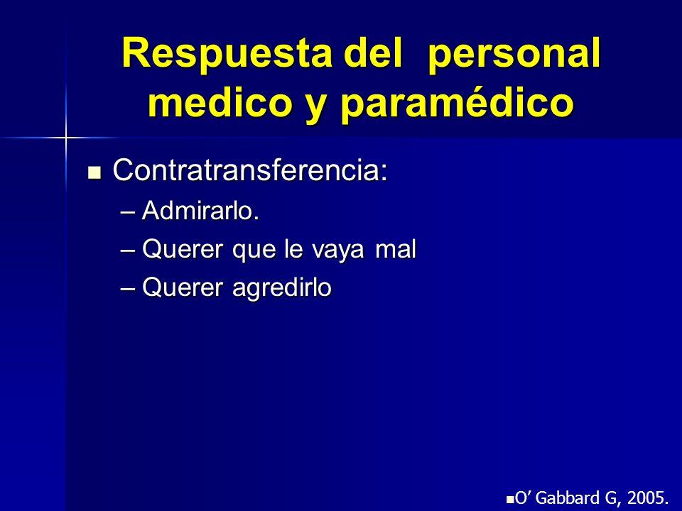 Respuesta del personal medico y paramédico Contratransferencia: Contratransferencia: –Admirarlo. –Querer que le vaya mal –Querer agredirlo O Gabbard G