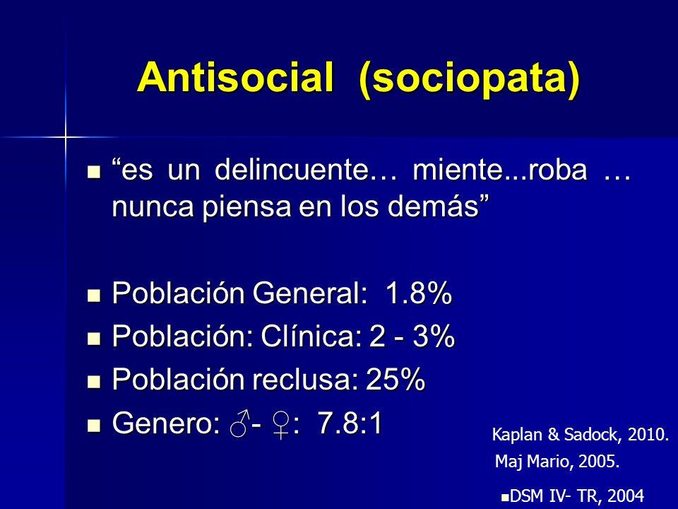 Antisocial (sociopata) es un delincuente… miente...roba … nunca piensa en los demás es un delincuente… miente...roba … nunca piensa en los demás Pobla