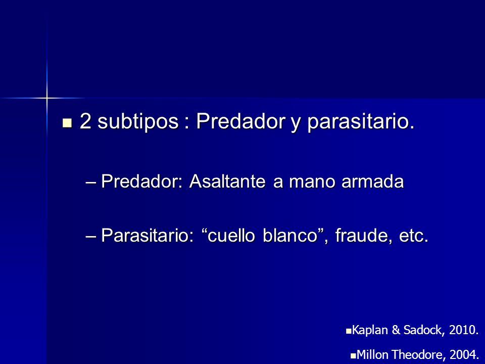 2 subtipos : Predador y parasitario. 2 subtipos : Predador y parasitario. –Predador: Asaltante a mano armada –Parasitario: cuello blanco, fraude, etc.