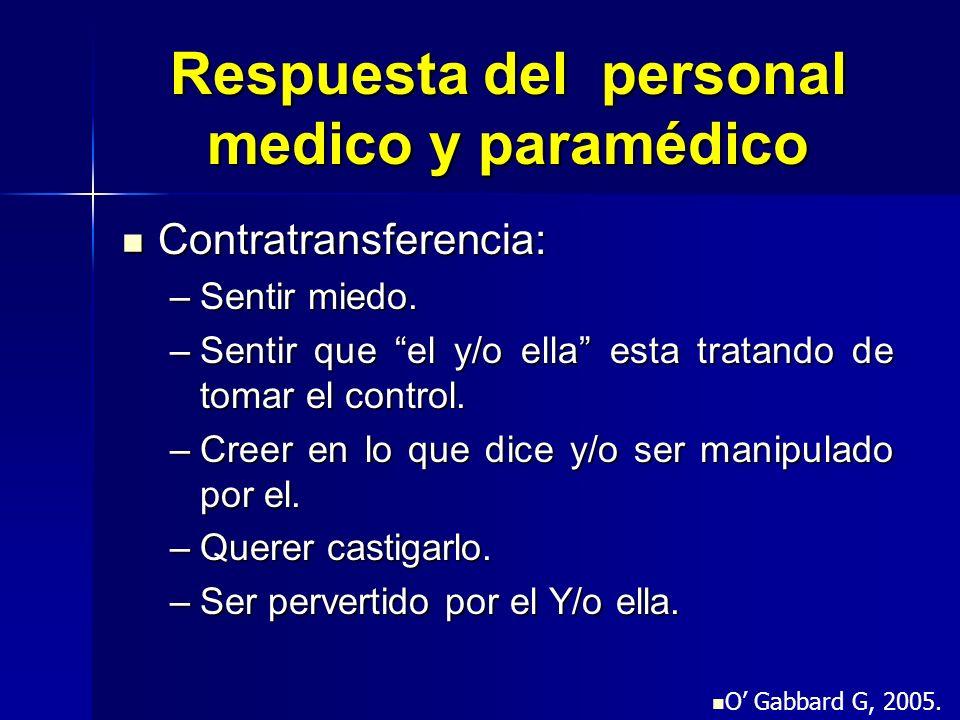 Respuesta del personal medico y paramédico Contratransferencia: Contratransferencia: –Sentir miedo. –Sentir que el y/o ella esta tratando de tomar el