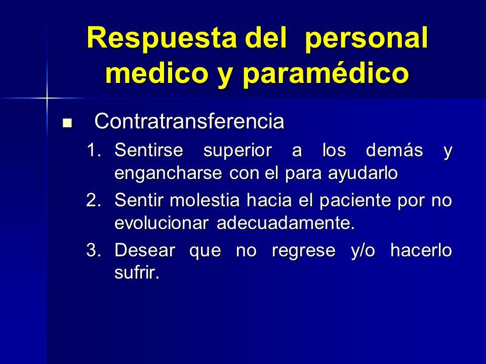 Respuesta del personal medico y paramédico Contratransferencia Contratransferencia 1.Sentirse superior a los demás y engancharse con el para ayudarlo