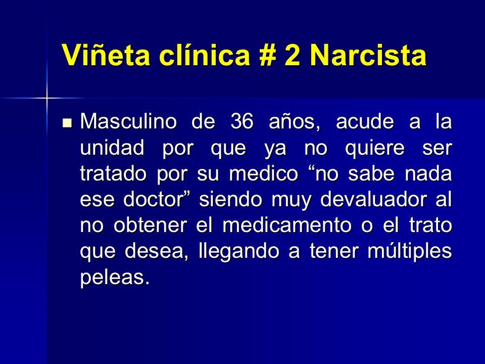 Viñeta clínica # 2 Narcista Masculino de 36 años, acude a la unidad por que ya no quiere ser tratado por su medico no sabe nada ese doctor siendo muy