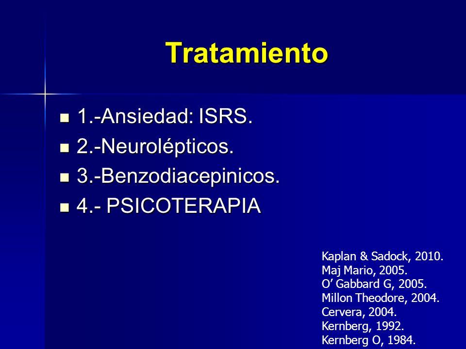 Tratamiento 1.-Ansiedad: ISRS. 1.-Ansiedad: ISRS. 2.-Neurolépticos. 2.-Neurolépticos. 3.-Benzodiacepinicos. 3.-Benzodiacepinicos. 4.- PSICOTERAPIA 4.-