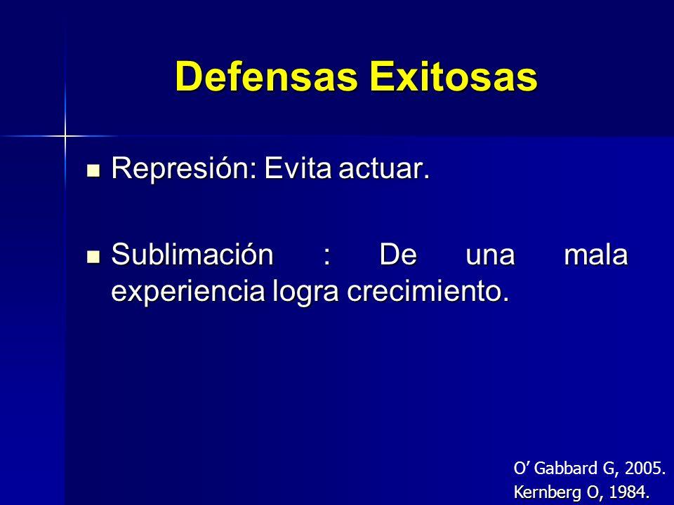 Defensas Exitosas Represión: Evita actuar. Represión: Evita actuar. Sublimación : De una mala experiencia logra crecimiento. Sublimación : De una mala