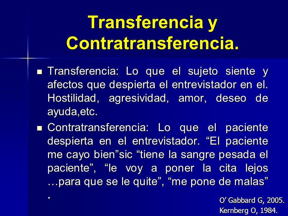 Transferencia y Contratransferencia. Transferencia: Lo que el sujeto siente y afectos que despierta el entrevistador en el. Hostilidad, agresividad, a