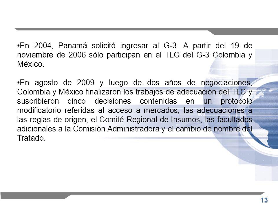 13 En 2004, Panamá solicitó ingresar al G-3. A partir del 19 de noviembre de 2006 sólo participan en el TLC del G-3 Colombia y México. En agosto de 20