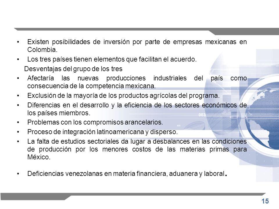 15 Existen posibilidades de inversión por parte de empresas mexicanas en Colombia. Los tres países tienen elementos que facilitan el acuerdo. Desventa