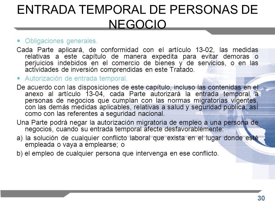 30 ENTRADA TEMPORAL DE PERSONAS DE NEGOCIO Obligaciones generales. Cada Parte aplicará, de conformidad con el artículo 13-02, las medidas relativas a