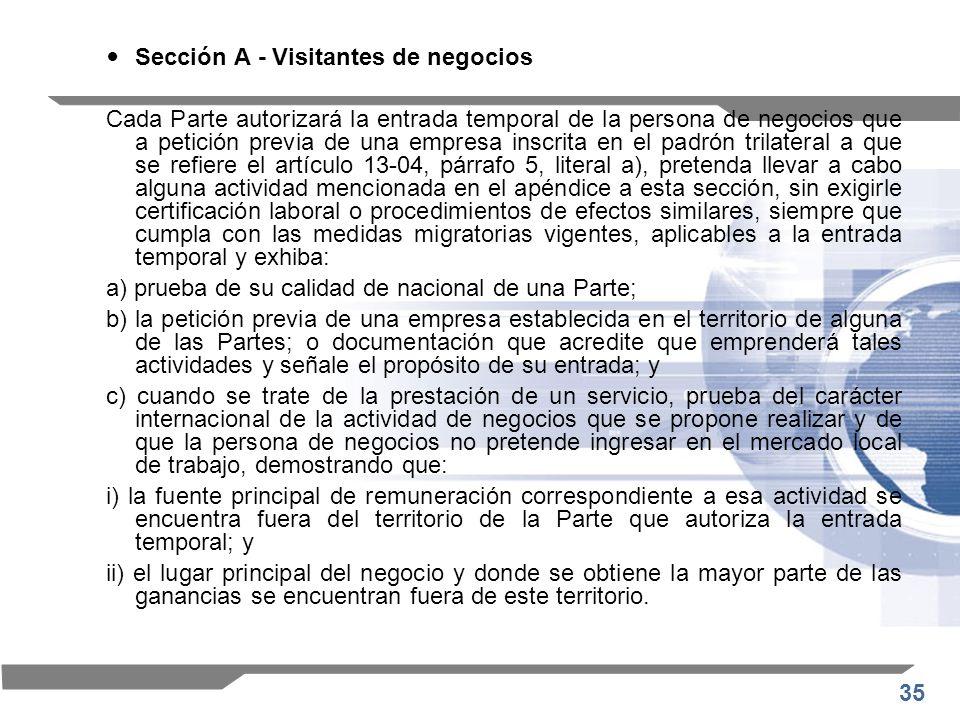 35 Sección A - Visitantes de negocios Cada Parte autorizará la entrada temporal de la persona de negocios que a petición previa de una empresa inscrit