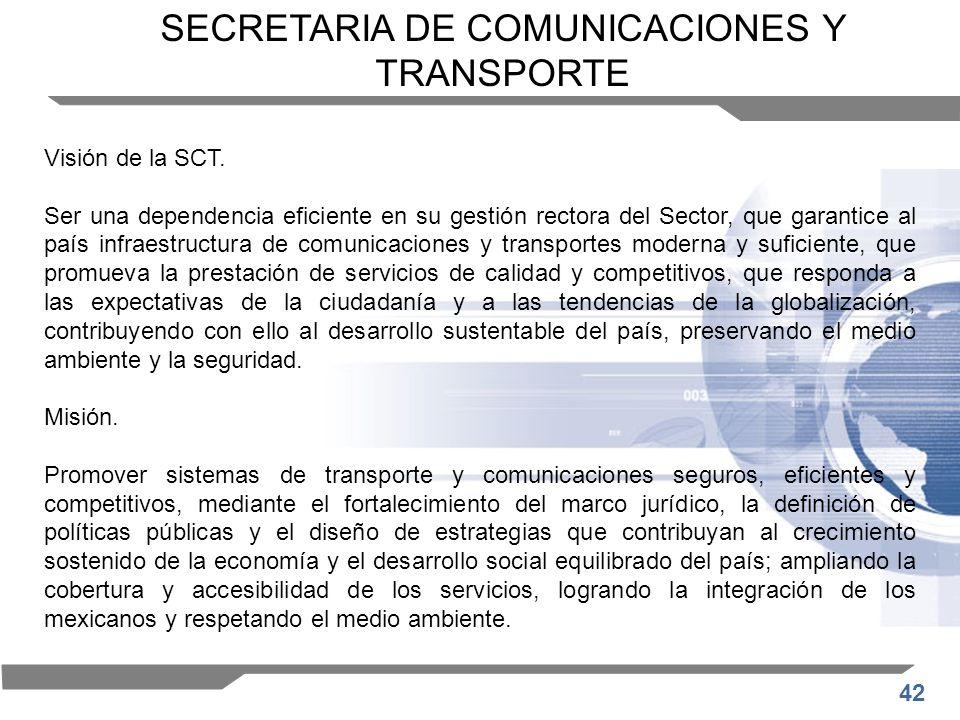 42 Visión de la SCT. Ser una dependencia eficiente en su gestión rectora del Sector, que garantice al país infraestructura de comunicaciones y transpo