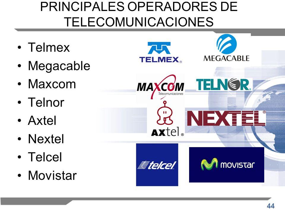 44 PRINCIPALES OPERADORES DE TELECOMUNICACIONES Telmex Megacable Maxcom Telnor Axtel Nextel Telcel Movistar