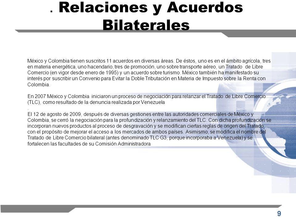 9. Relaciones y Acuerdos Bilaterales México y Colombia tienen suscritos 11 acuerdos en diversas áreas. De éstos, uno es en el ámbito agrícola, tres en