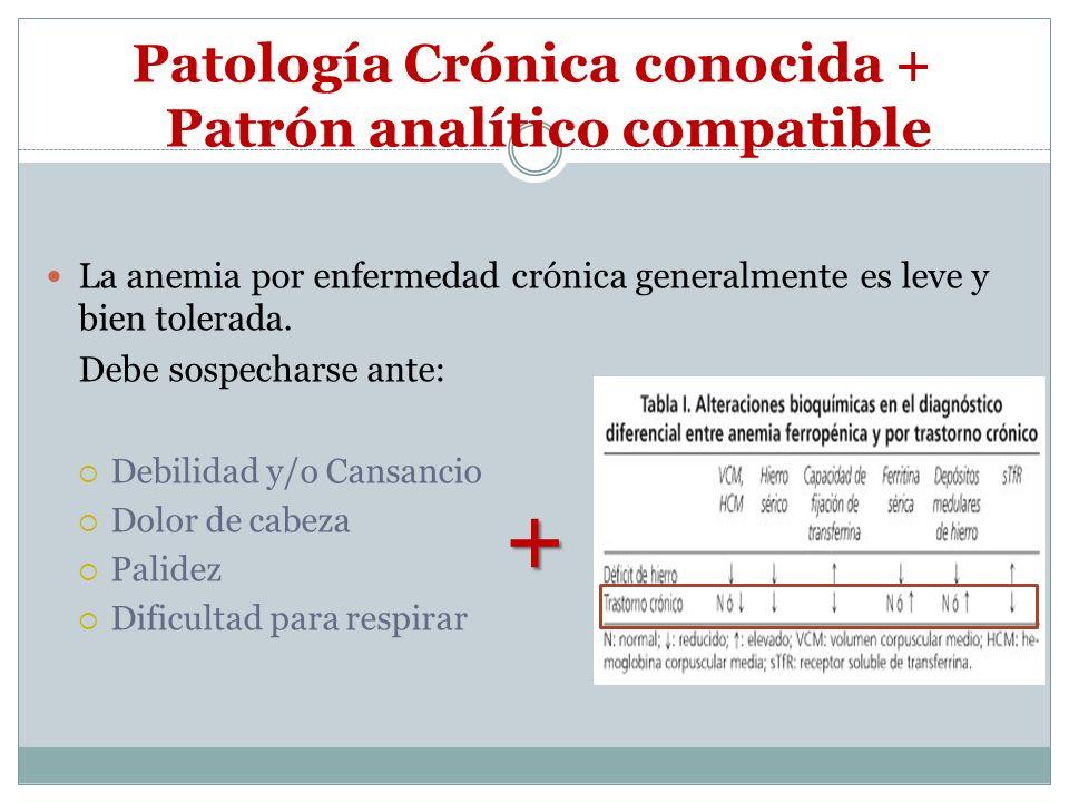 Patología Crónica conocida + Patrón analítico compatible La anemia por enfermedad crónica generalmente es leve y bien tolerada. Debe sospecharse ante: