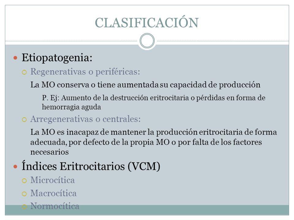 CLASIFICACIÓN Etiopatogenia: Regenerativas o periféricas: La MO conserva o tiene aumentada su capacidad de producción P. Ej: Aumento de la destrucción