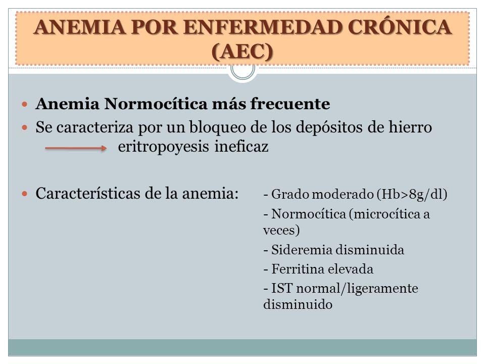 ANEMIA POR ENFERMEDAD CRÓNICA (AEC) Anemia Normocítica más frecuente Se caracteriza por un bloqueo de los depósitos de hierro eritropoyesis ineficaz C