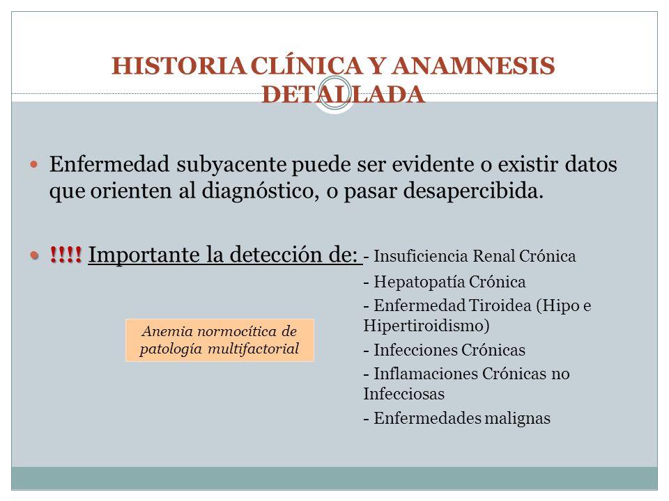 HISTORIA CLÍNICA Y ANAMNESIS DETALLADA Enfermedad subyacente puede ser evidente o existir datos que orienten al diagnóstico, o pasar desapercibida. !!