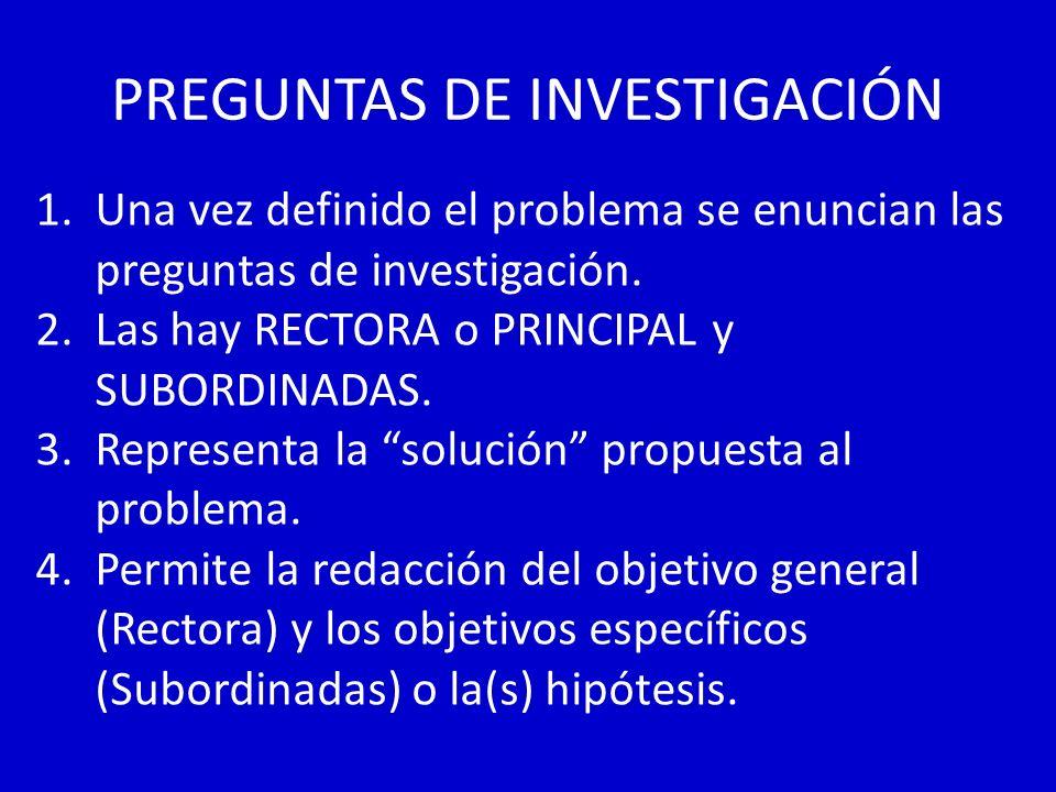 PREGUNTAS DE INVESTIGACIÓN 1.Una vez definido el problema se enuncian las preguntas de investigación. 2.Las hay RECTORA o PRINCIPAL y SUBORDINADAS. 3.