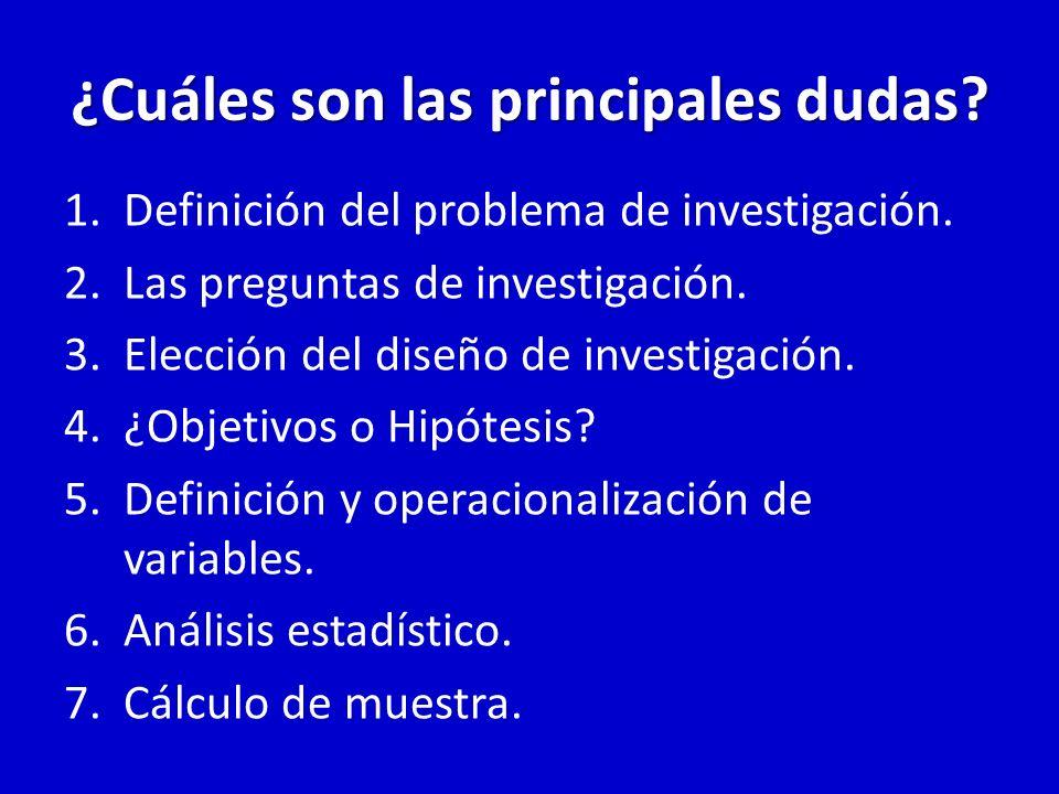 ¿Cuáles son las principales dudas? 1.Definición del problema de investigación. 2.Las preguntas de investigación. 3.Elección del diseño de investigació
