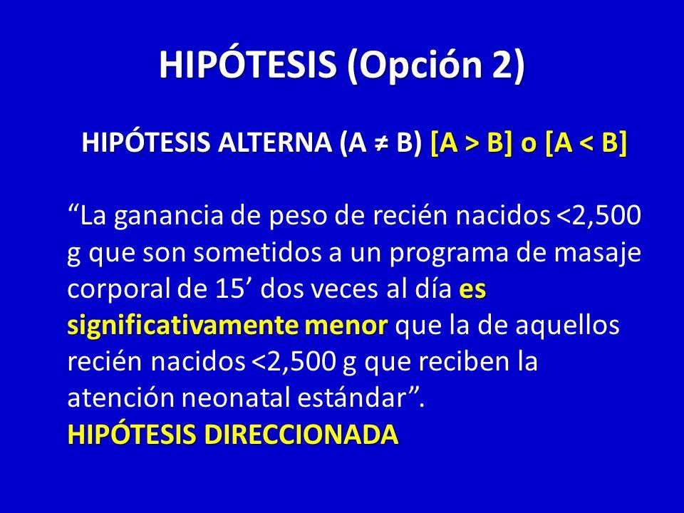HIPÓTESIS (Opción 2) HIPÓTESIS ALTERNA (A B) [A > B] o [A B] o [A < B] es significativamente menor La ganancia de peso de recién nacidos <2,500 g que
