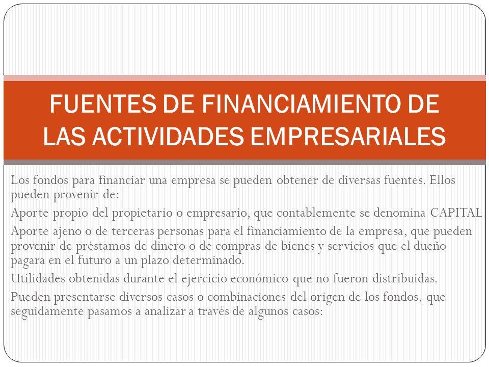 Los fondos para financiar una empresa se pueden obtener de diversas fuentes. Ellos pueden provenir de: Aporte propio del propietario o empresario, que