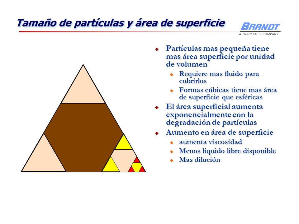 Tamaño de partículas y área de superficie Partículas mas pequeña tiene mas área superficie por unidad de volumen Partículas mas pequeña tiene mas área