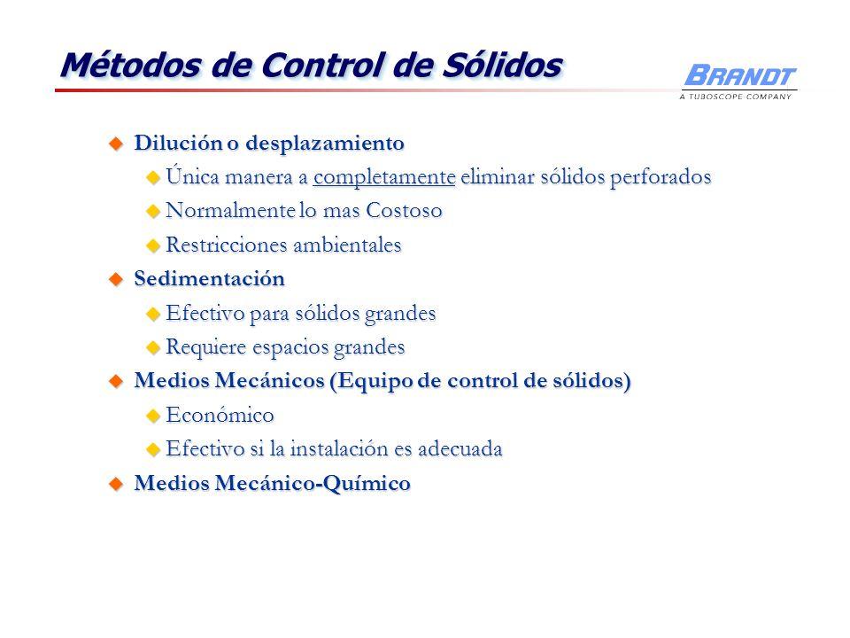 Métodos de Control de Sólidos u Dilución o desplazamiento u Única manera a completamente eliminar sólidos perforados u Normalmente lo mas Costoso u Re