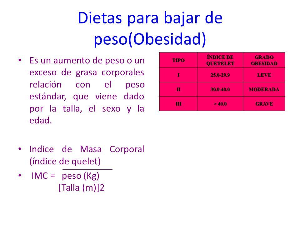 Dietas para bajar de peso(Obesidad) Es un aumento de peso o un exceso de grasa corporales relación con el peso estándar, que viene dado por la talla,