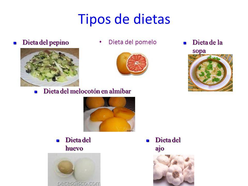 Tipos de dietas Dieta del pomelo Dieta del pepino Dieta del pepino Dieta del melocotón en almíbar Dieta del melocotón en almíbar Dieta del ajo Dieta d
