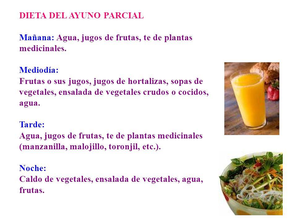DIETA DEL AYUNO PARCIAL Mañana: Agua, jugos de frutas, te de plantas medicinales. Mediodía: Frutas o sus jugos, jugos de hortalizas, sopas de vegetale